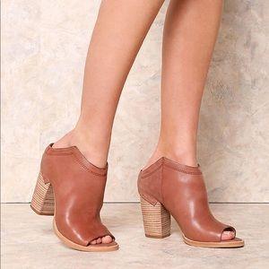 dolce Vita NOA tan peep toe mules in tan